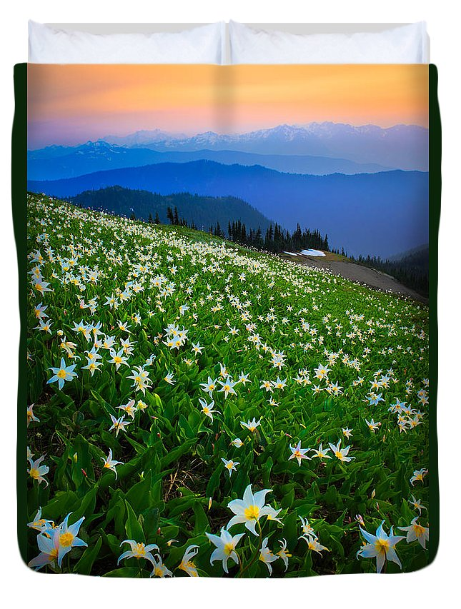 America Duvet Cover featuring the photograph Avalanche Lily Field by Inge Johnsson