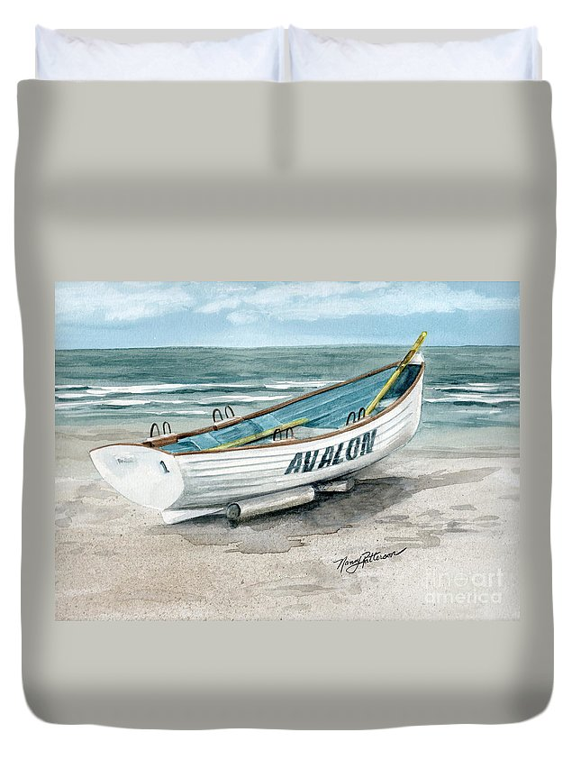 b8b06744262c Avalon Lifeguard Boat Duvet Cover for Sale by Nancy Patterson