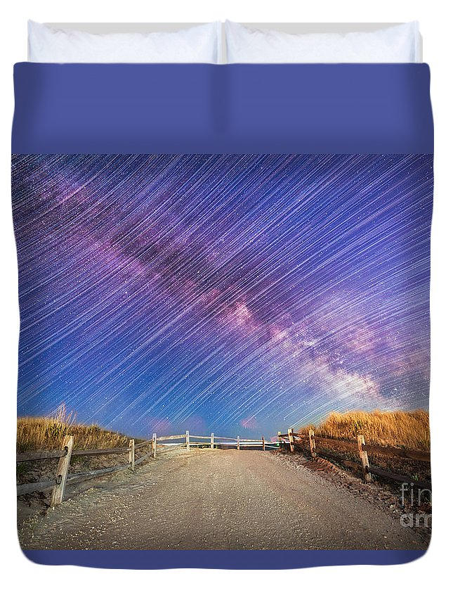 Milky Way Mike Duvet Cover featuring the photograph Avalon Star Trails by Michael Ver Sprill