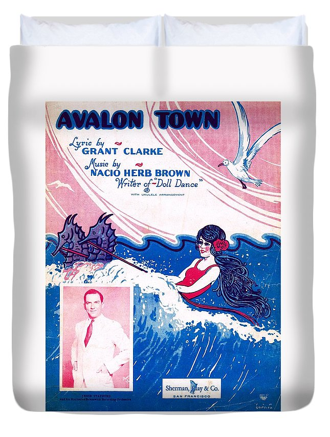 Nostalgia Duvet Cover featuring the photograph Avalon Town by Mel Thompson