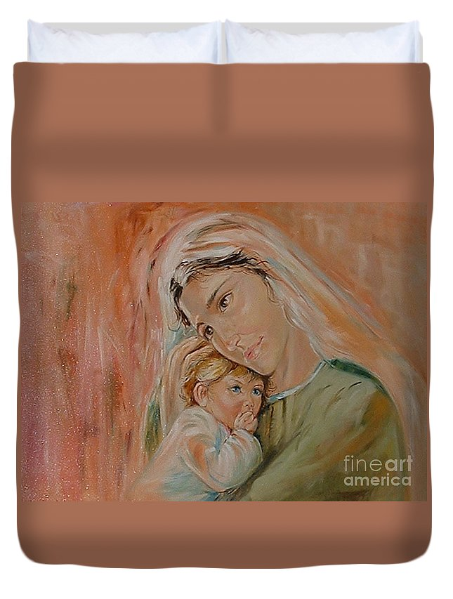 Classic Art Duvet Cover featuring the painting Ave Maria by Silvana Abel