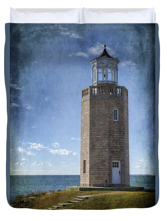 Joan Carroll Duvet Cover featuring the photograph Avery Point Lighthouse by Joan Carroll