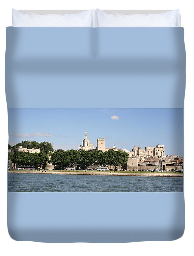 City Duvet Cover featuring the photograph Avigon View From River Rhone by Christiane Schulze Art And Photography