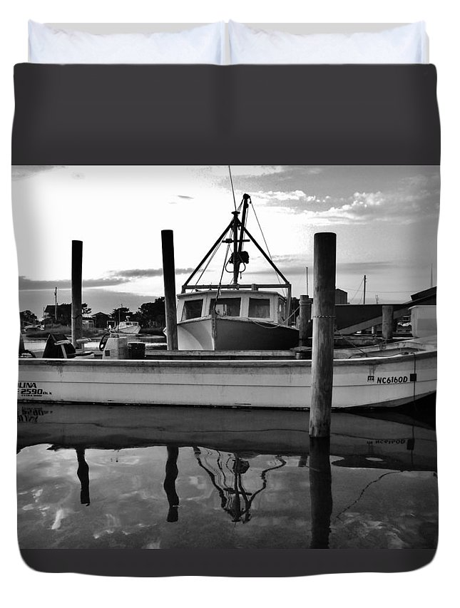 Outer Banks North Carolina Obx Avon Harbor Fishing Commercial Fishermen Boat Reflection Pamlico Sound Duvet Cover featuring the photograph Avon Harbor Bxw 7/26 by Mark Lemmon