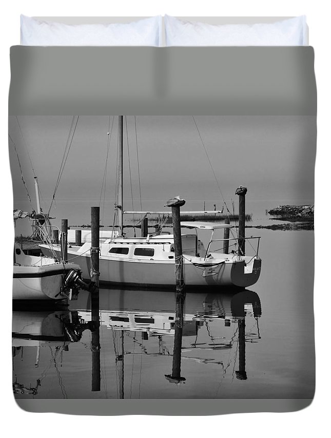 Outer Banks North Carolina Obx Avon Harbor Sailing Sailboat Pelicans Wood Pylons Reflection Pamlico Sound Duvet Cover featuring the photograph Avon Harbor Calm Reflection Bxw 1/13 by Mark Lemmon