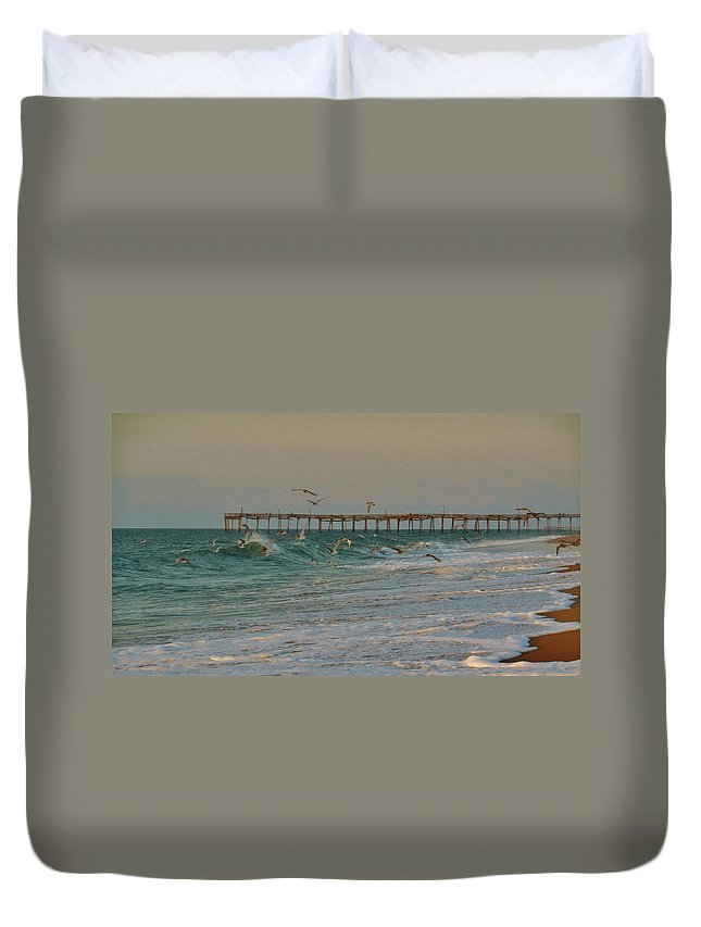 Mark Lemmon Cape Hatteras Nc The Outer Banks Photographer Subjects From Sunrise Duvet Cover featuring the photograph Avon Pier And Birds 7/30 by Mark Lemmon