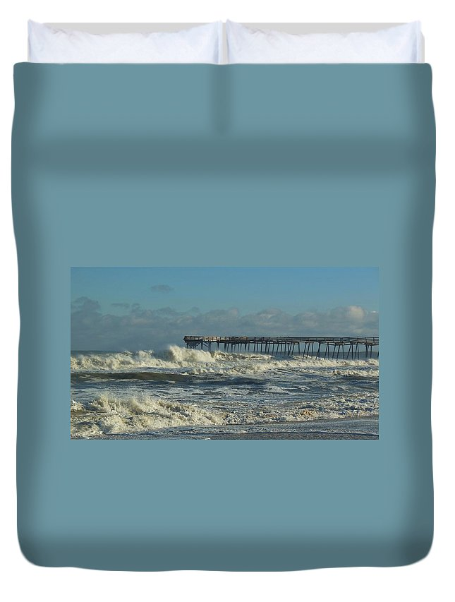 Mark Lemmon Cape Hatteras Nc The Outer Banks Photographer Subjects From Sunrise Duvet Cover featuring the photograph Avon Pier Ocean Pounding 3 2/08 by Mark Lemmon
