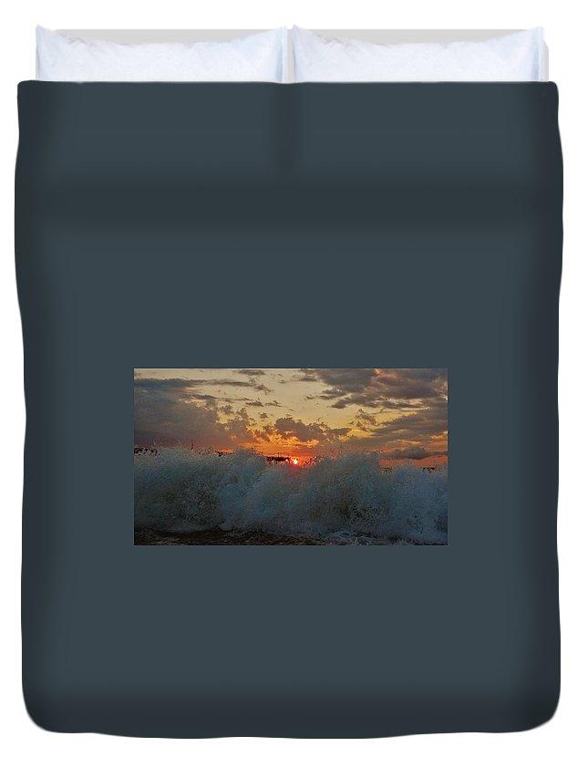 Mark Lemmon Cape Hatteras Nc The Outer Banks Photographer Subjects From Sunrise Duvet Cover featuring the photograph Avon Pier Splash Sunrise 7/26 by Mark Lemmon