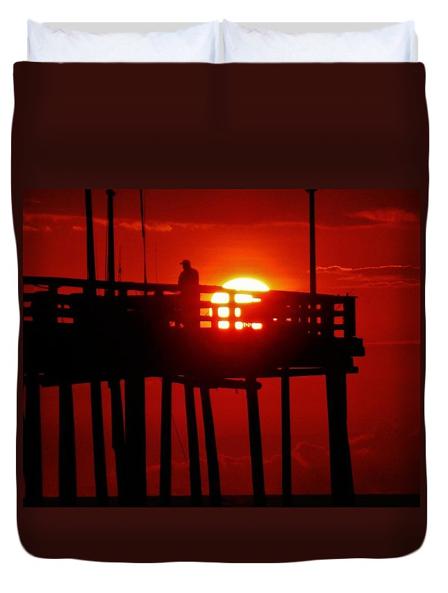 Mark Lemmon Cape Hatteras Nc The Outer Banks Photographer Subjects From Sunrise Duvet Cover featuring the photograph Avon Pier Sunrise 2 7/26 by Mark Lemmon