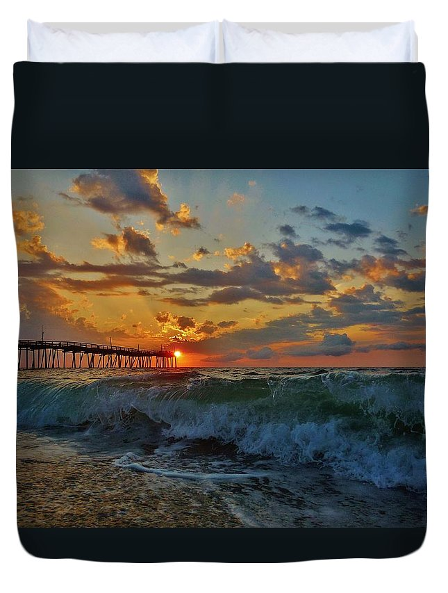 Mark Lemmon Cape Hatteras Nc The Outer Banks Photographer Subjects From Sunrise Duvet Cover featuring the photograph Mother Natures Awakening 3 7/26 by Mark Lemmon
