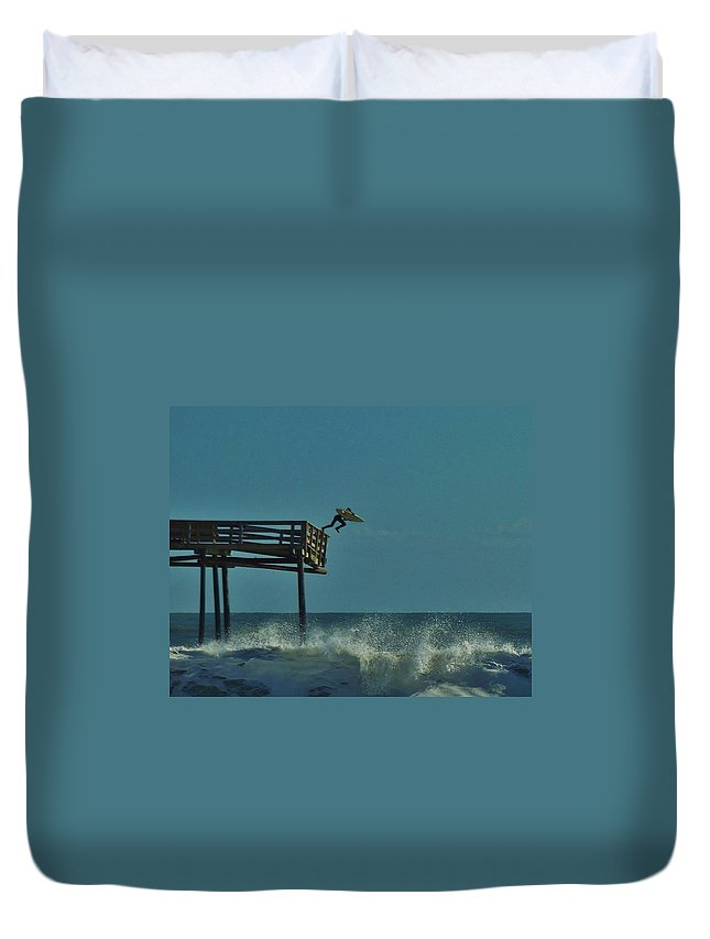 Mark Lemmon Cape Hatteras Nc The Outer Banks Photographer Subjects From Sunrise Duvet Cover featuring the photograph Avon Pier Surfers Leap 1 1/19 by Mark Lemmon