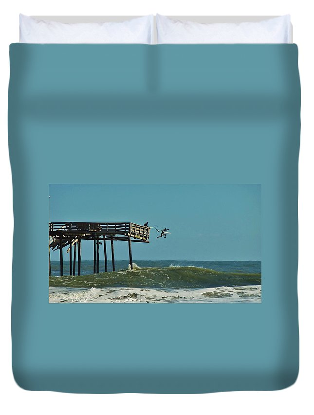 Mark Lemmon Cape Hatteras Nc The Outer Banks Photographer Subjects From Sunrise Duvet Cover featuring the photograph Avon Pier Surfers Leap 2 1/19 by Mark Lemmon
