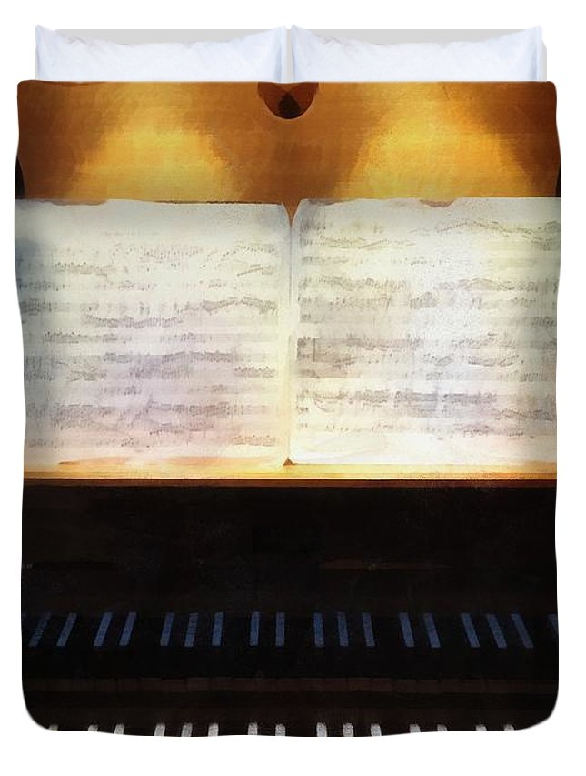 Organ Duvet Cover featuring the painting Awaiting Bach by RC DeWinter