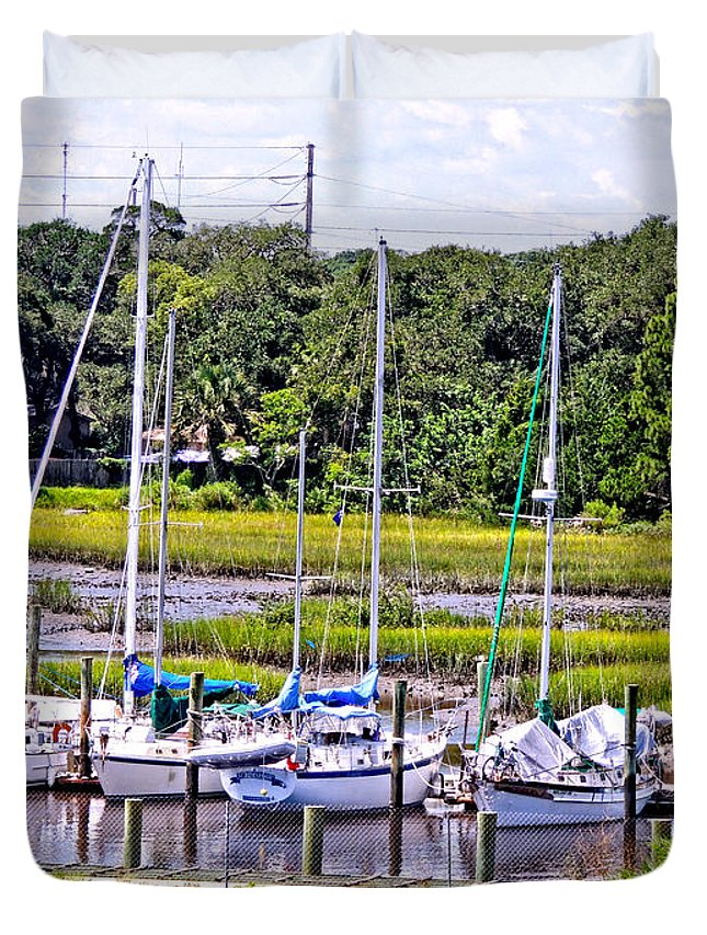 Boats Duvet Cover featuring the photograph Awaiting by Marilyn Holkham