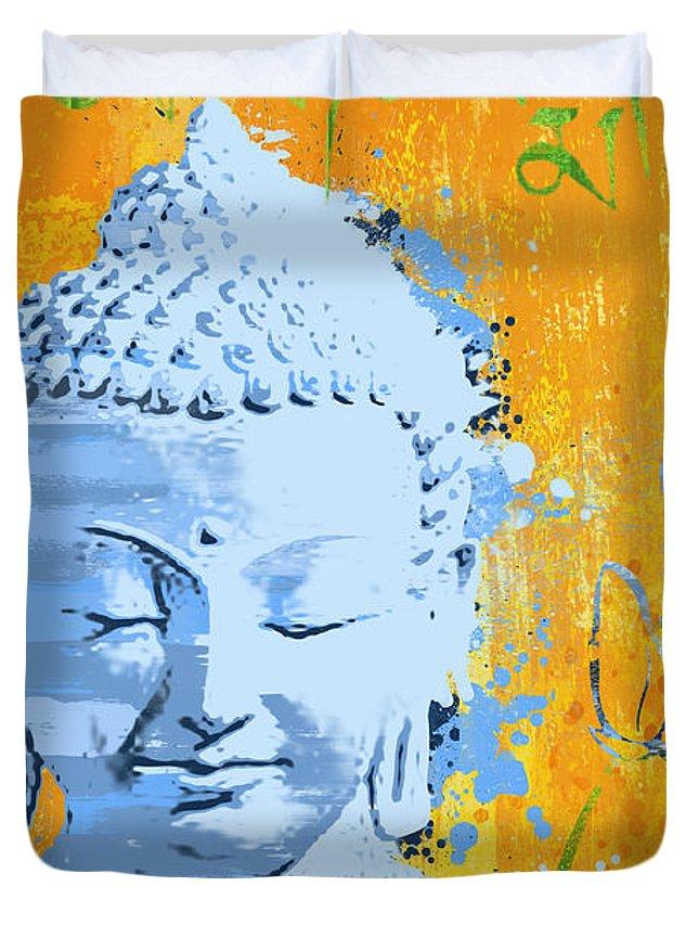 Awakened One Duvet Cover featuring the painting Awakened One Mantra by Ryan Burton