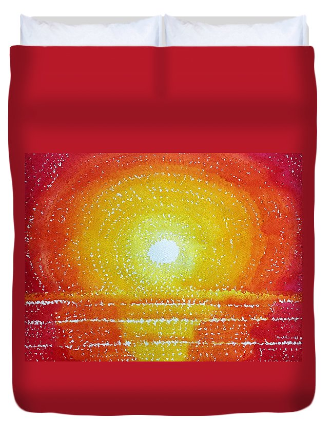 Sun Duvet Cover featuring the painting Awakening Original Painting by Sol Luckman