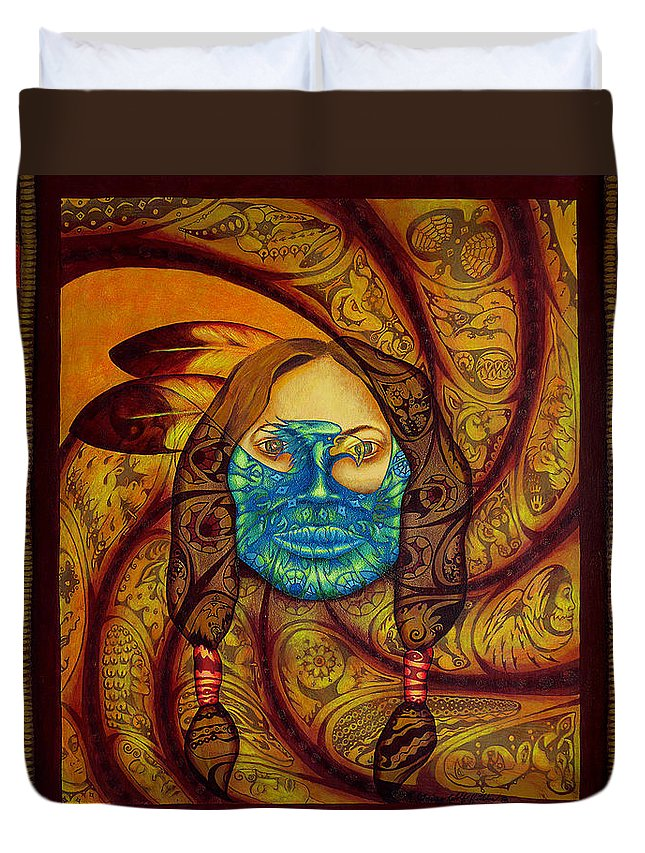 Native American Duvet Cover featuring the painting Awakenings by Kevin Chasing Wolf Hutchins