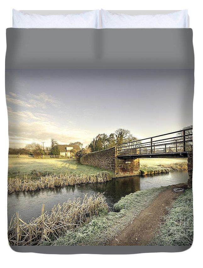 Ayshford Duvet Cover featuring the photograph Ayshford Bridge Winter by Rob Hawkins