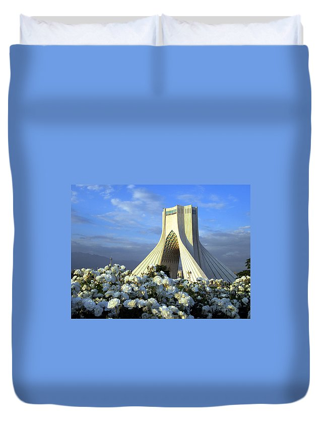 Tranquility Duvet Cover featuring the photograph Azadi Tower In Tehran by Photo By David Stanley