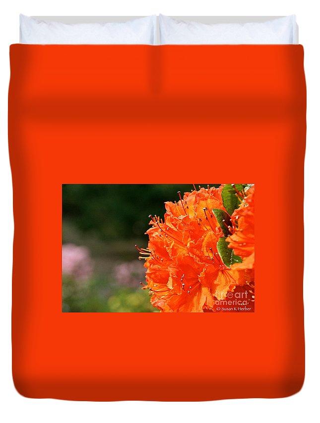 Flower Duvet Cover featuring the photograph Azalea Profile by Susan Herber