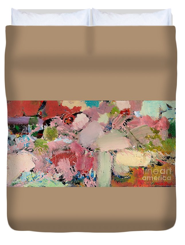 Landscape Duvet Cover featuring the painting Azaleas by Allan P Friedlander