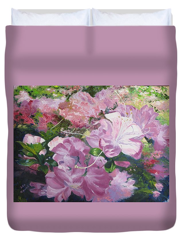 Garden Duvet Cover featuring the painting Azaleas Or Rhododendrons by Lea Novak