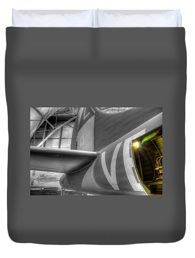 B-17 Bomber Duvet Cover featuring the photograph B-17 Bomber Tail by David Dufresne