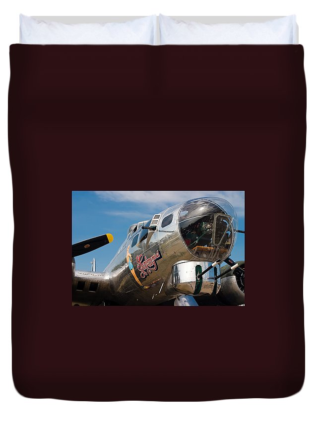 3scape Photos Duvet Cover featuring the photograph B-17 Flying Fortress by Adam Romanowicz