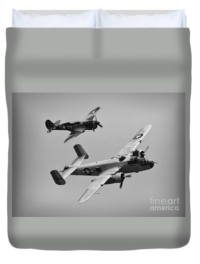 North American B-25 Mitchell Duvet Cover featuring the photograph B-25 And Escort Bw by Tommy Anderson