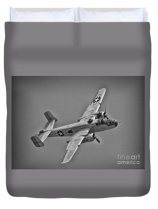 North American B-25 Mitchell Duvet Cover featuring the photograph B-25 Mitchell Bw by Tommy Anderson