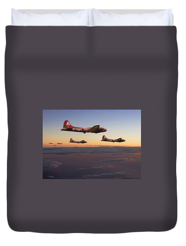 Aircraft Duvet Cover featuring the digital art B17- A Winter's Tale by Pat Speirs