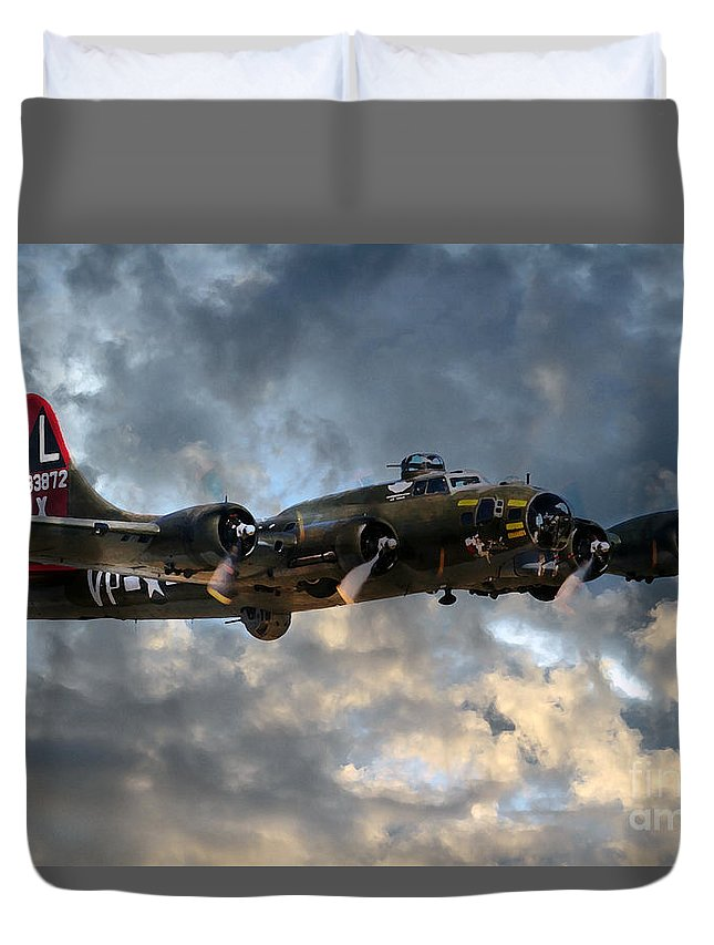 B17 Duvet Cover featuring the digital art B17 Tribute by J Biggadike