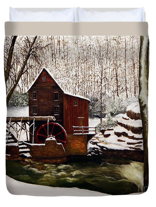 Landscape Duvet Cover featuring the painting Babcock Mill In The Snow by Timothy Smith