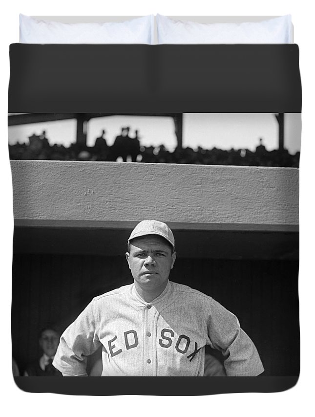 1 Person Duvet Cover featuring the photograph Babe Ruth In Red Sox Uniform by Underwood Archives