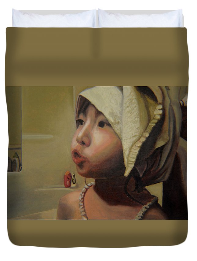 Figure Duvet Cover featuring the painting Baby Bath Mama by Thu Nguyen
