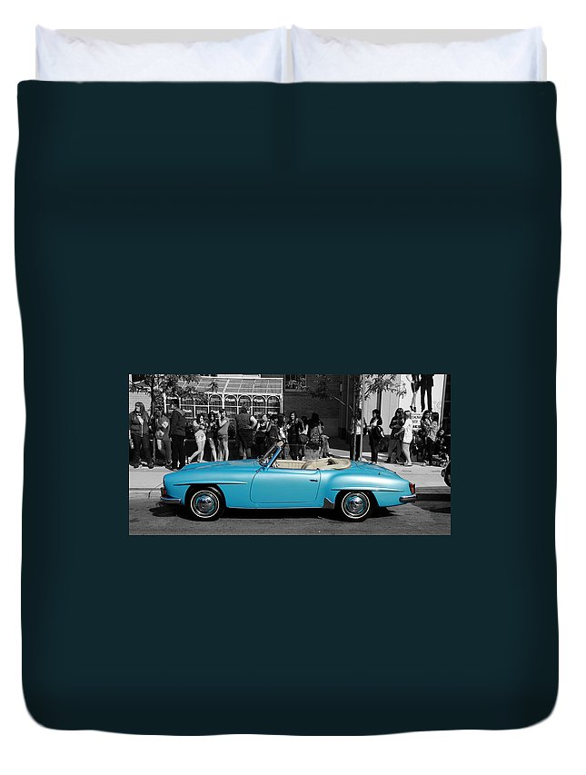 Mercedes Benz Duvet Cover featuring the photograph Baby Blue Benz by Andrew Fare