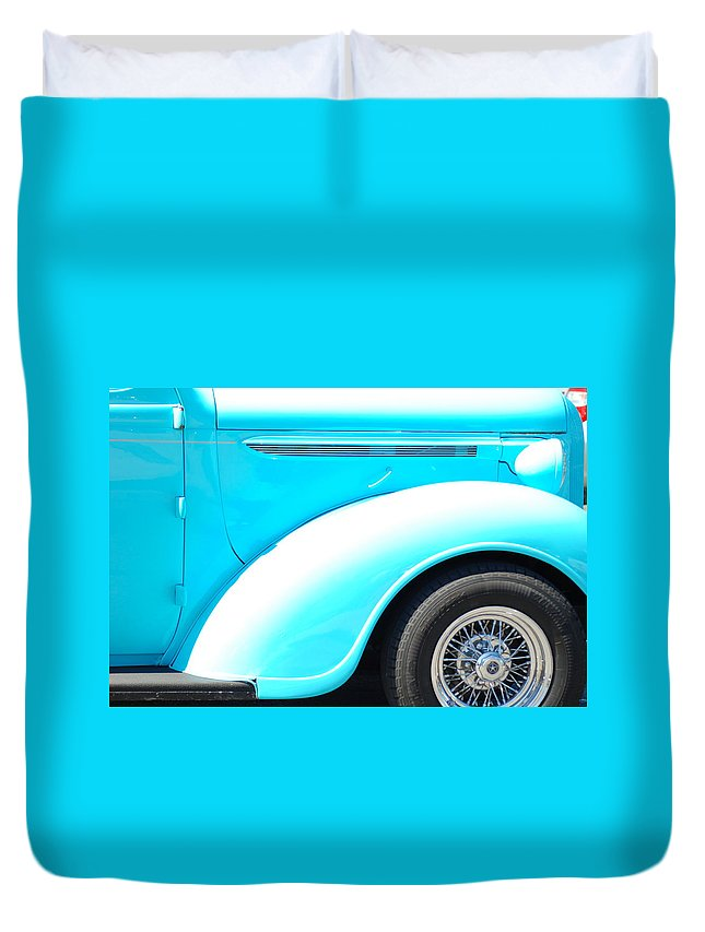 Classic Cars Duvet Cover featuring the photograph Baby Blue by Optical Playground By MP Ray