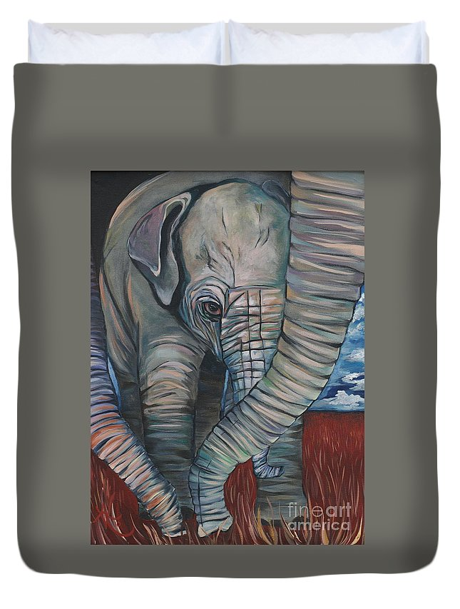 Baby Elephant Duvet Cover featuring the painting Baby Comfort by Aimee Vance