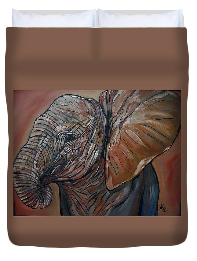 Wild Life Duvet Cover featuring the painting Baby Elephant by Aimee Vance