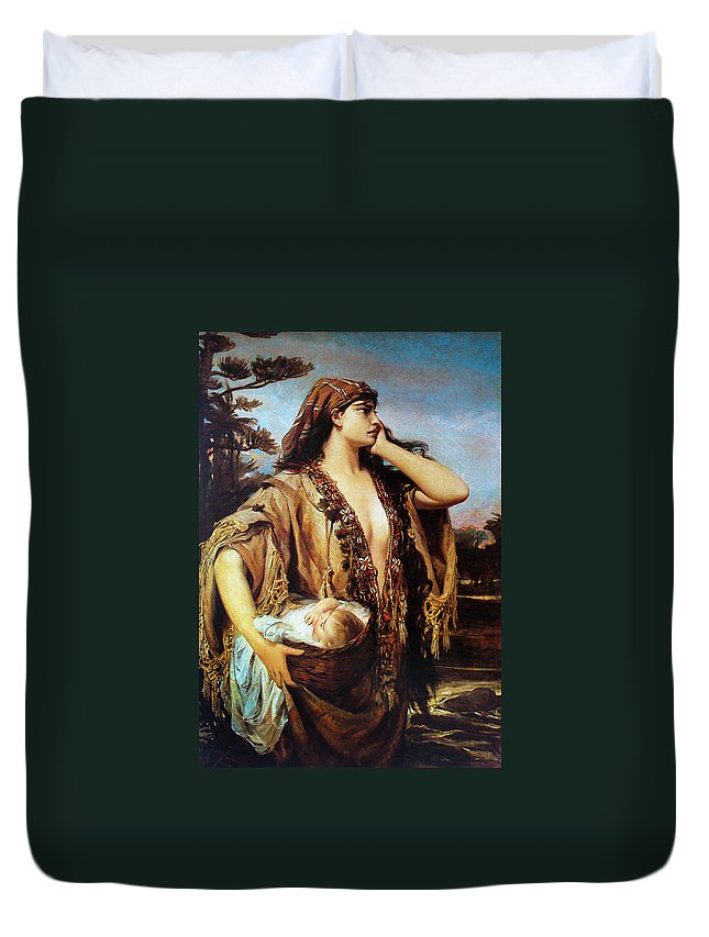 Pedro Americo Duvet Cover featuring the digital art Baby Moses And Jacabed by Pedro Americo