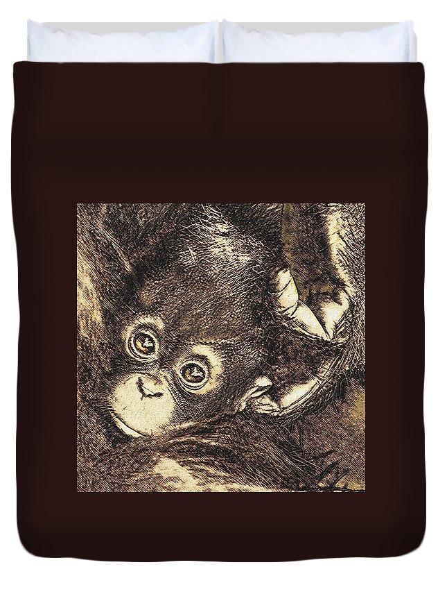 Baby Duvet Cover featuring the digital art Baby Orangutan by Jane Schnetlage