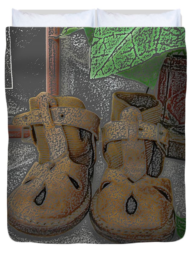 Baby Shoes Duvet Cover featuring the digital art Baby Shoes by Lovina Wright
