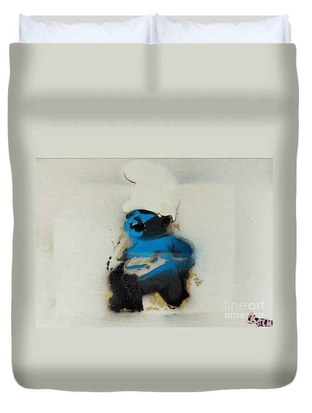 Smurf Duvet Cover featuring the painting Baby Smurf by Barry Boom