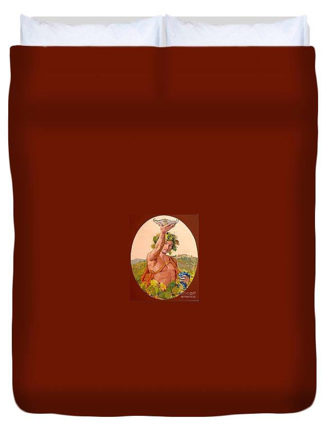 Bacco Duvet Cover featuring the painting Bacco Di Kokomani by Sefedin Stafa