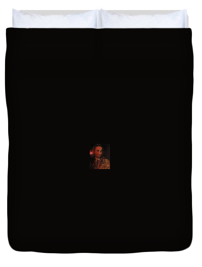 Duvet Cover featuring the painting Bach Portrait After Heavy Varnish by Jude Darrien
