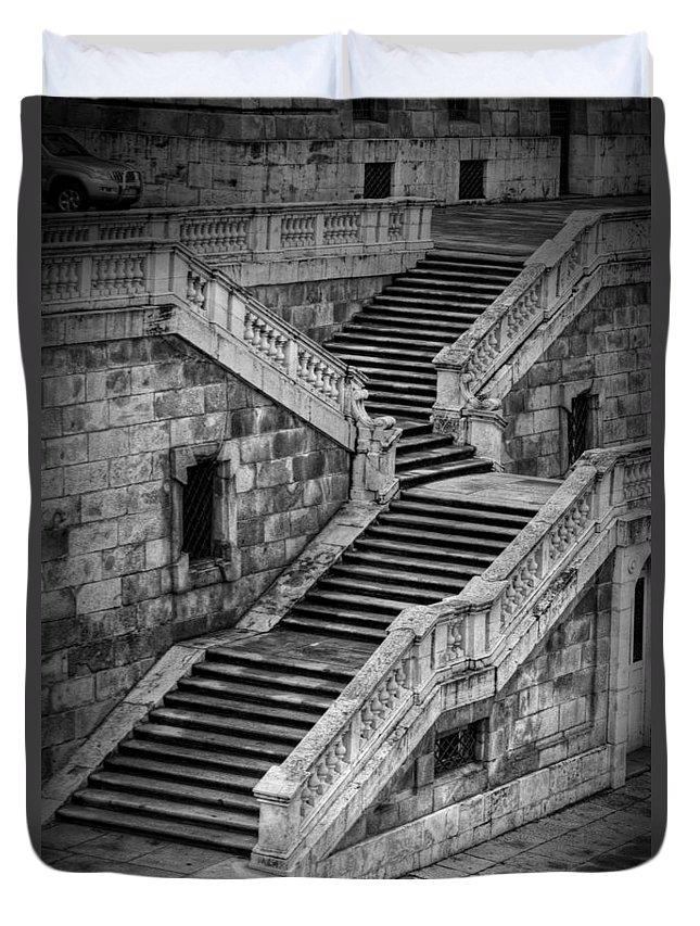 Ancient Duvet Cover featuring the photograph Back Entrance by Joan Carroll