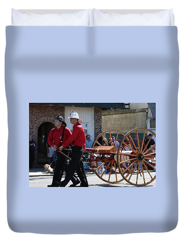 Firefighter Duvet Cover featuring the photograph Back In The Day by Rick Monyahan