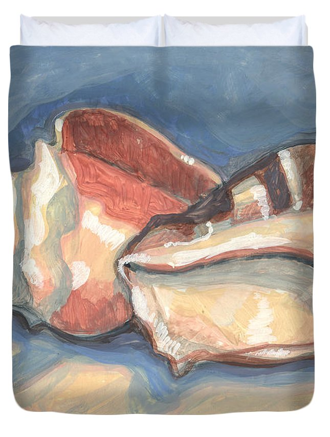 Shell Duvet Cover featuring the painting Back To Back by Richard Glen Smith