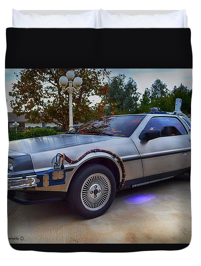 Back To The Future Duvet Cover featuring the photograph Back To The Future Delorean by Tommy Anderson