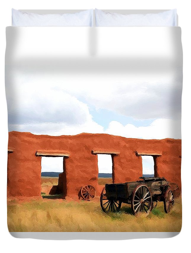 Fort Union Duvet Cover featuring the painting Back When by Jim Buchanan